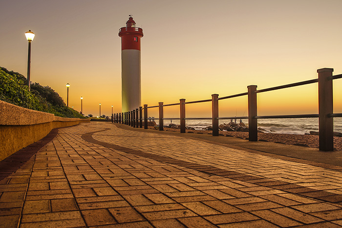 View the sunset at the Umhlanga Rocks Lighthouse