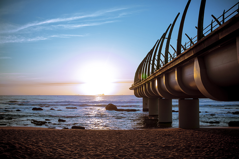 The Umhlanga Pier in durban South Africa In the Sunrise over Indian Ocean